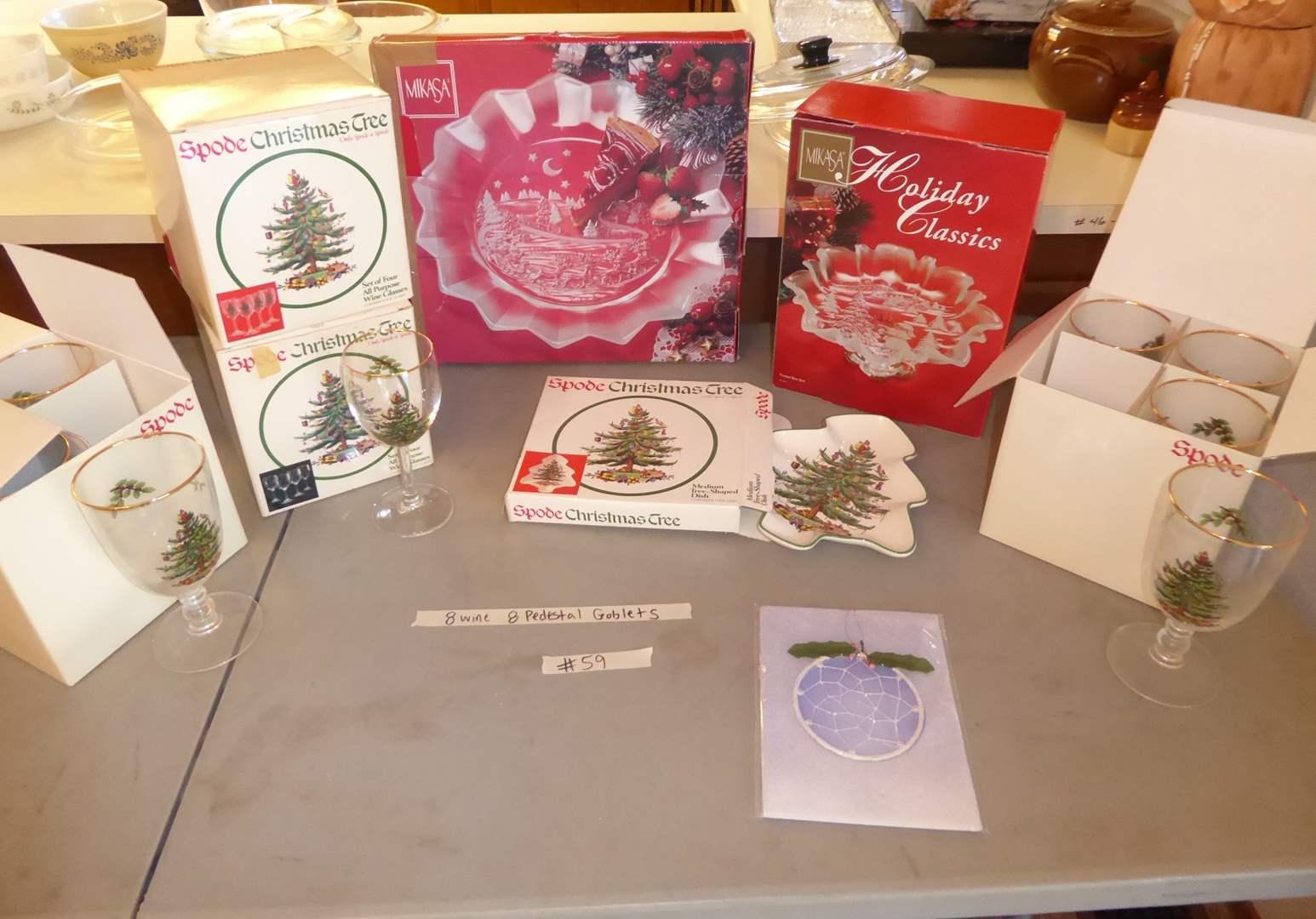 Lot # 59 - SPODE Christmas Tree Glasses & Holiday Plates  (main image)