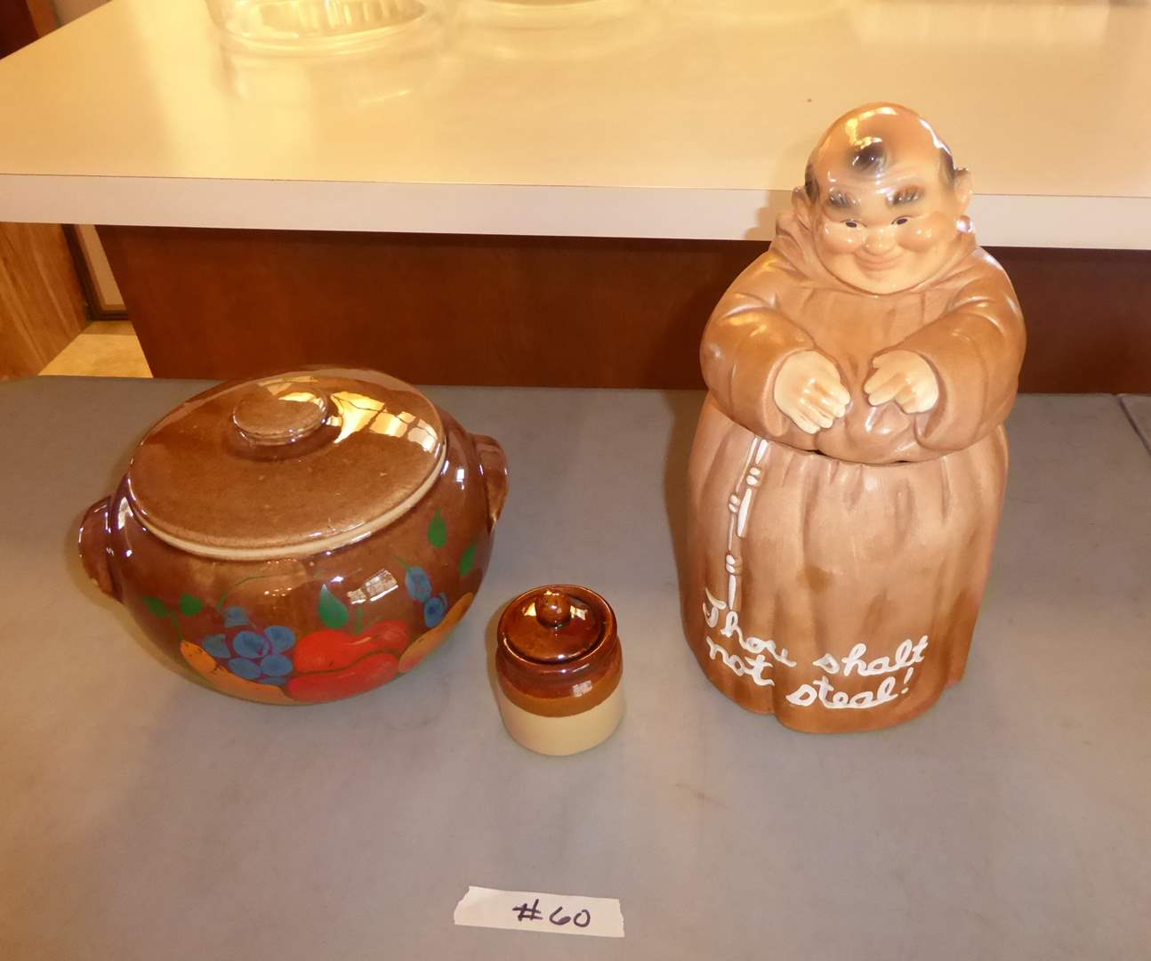 Lot # 60 - Twin Winton Friar Tuck Cookie Jar, Lidded USA Pottery & Small Lidded Jar  (main image)