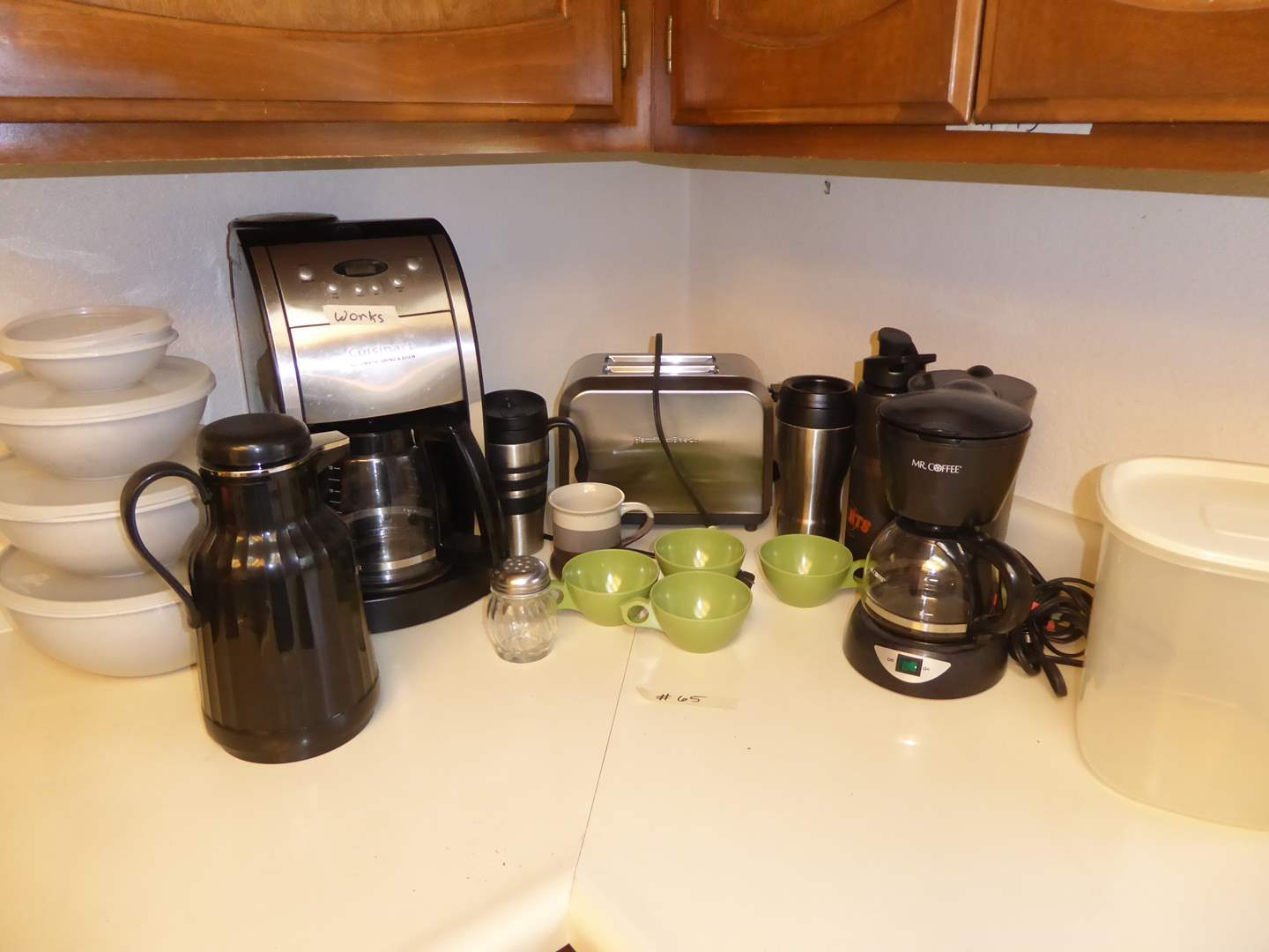 Lot # 65 - Automatic Grind & Brew Coffee Maker, Hamilton Beach Toaster & Camping Coffee Cups  (main image)