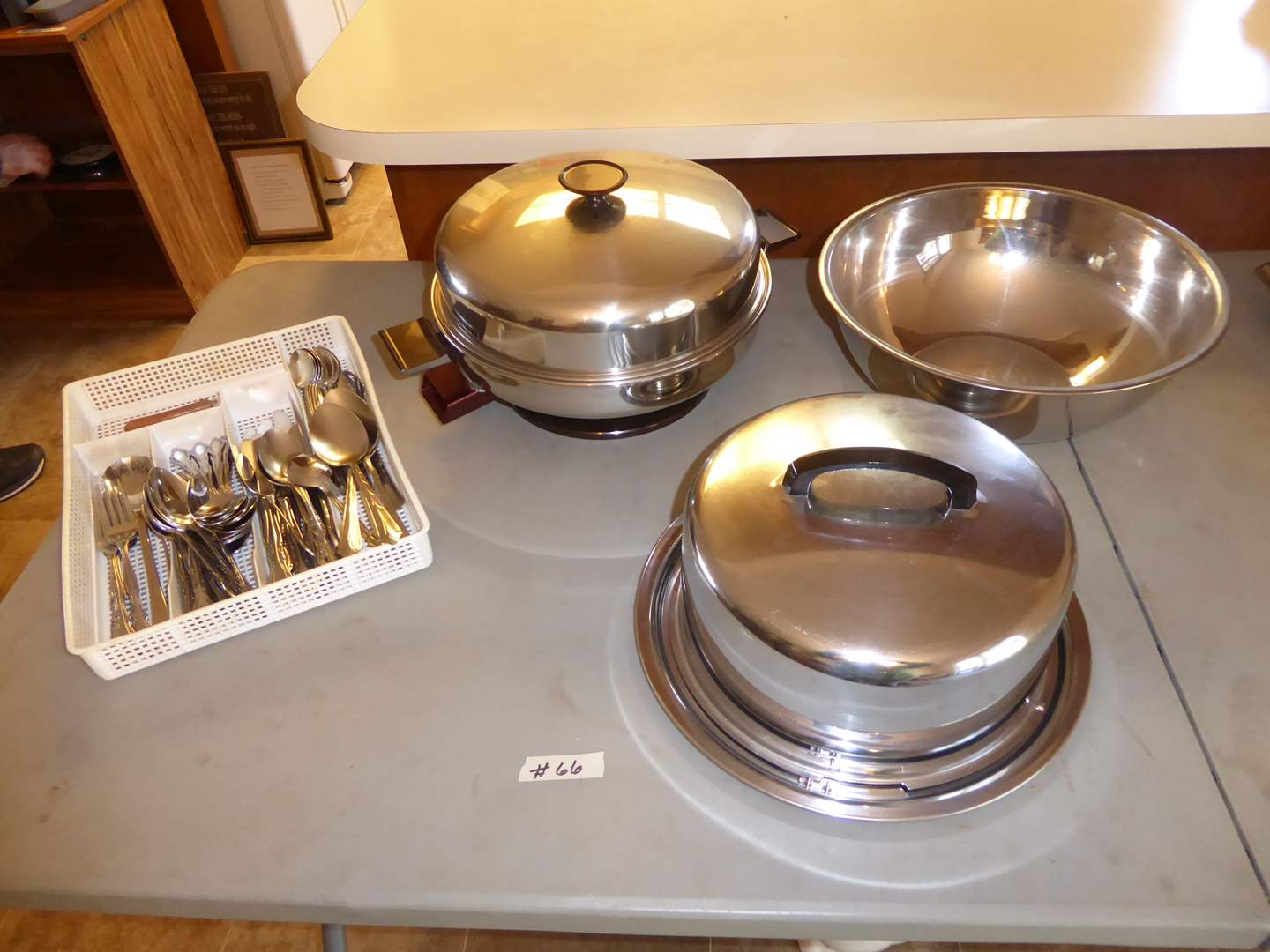 Lot # 66 - Rogers Stainless Flatware, Electric Skillet & Cake Pan  (main image)