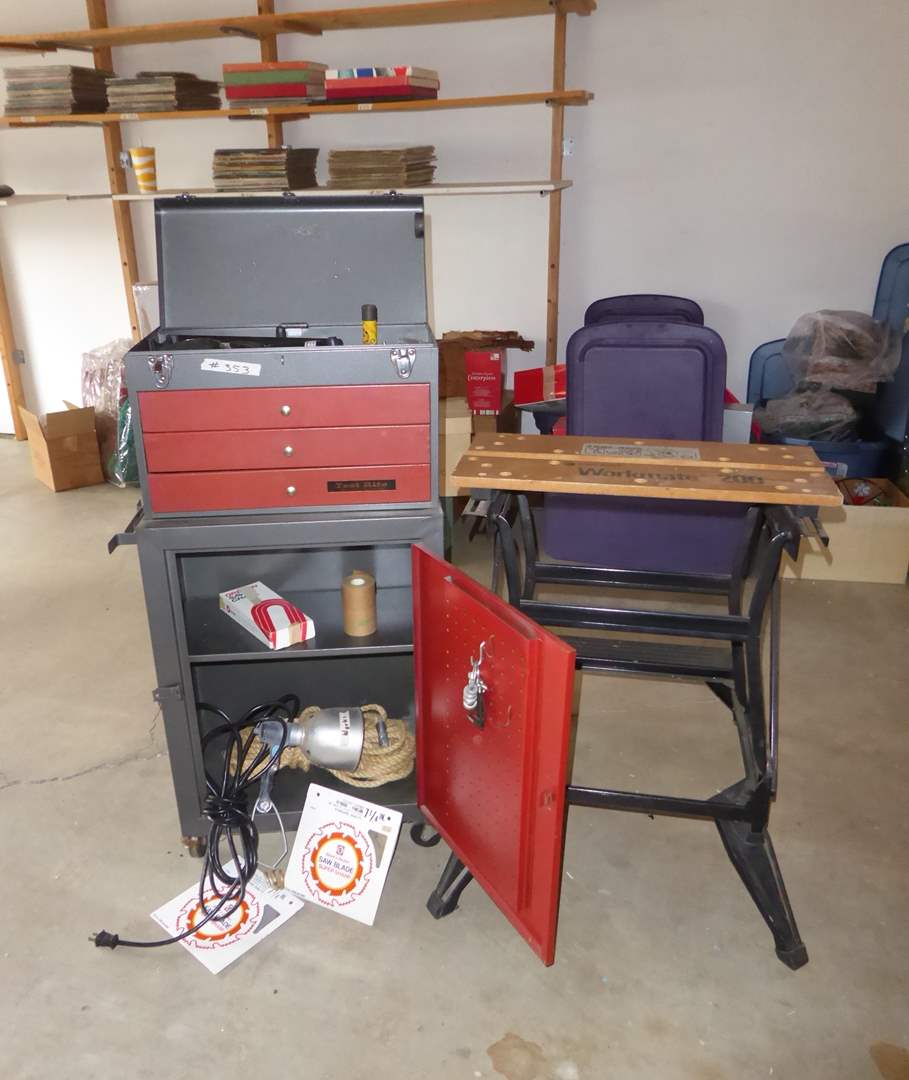 """Lot # 353 - Two Piece """"Test Rite"""" Tool Box W/Contents & Workmate 200   (main image)"""