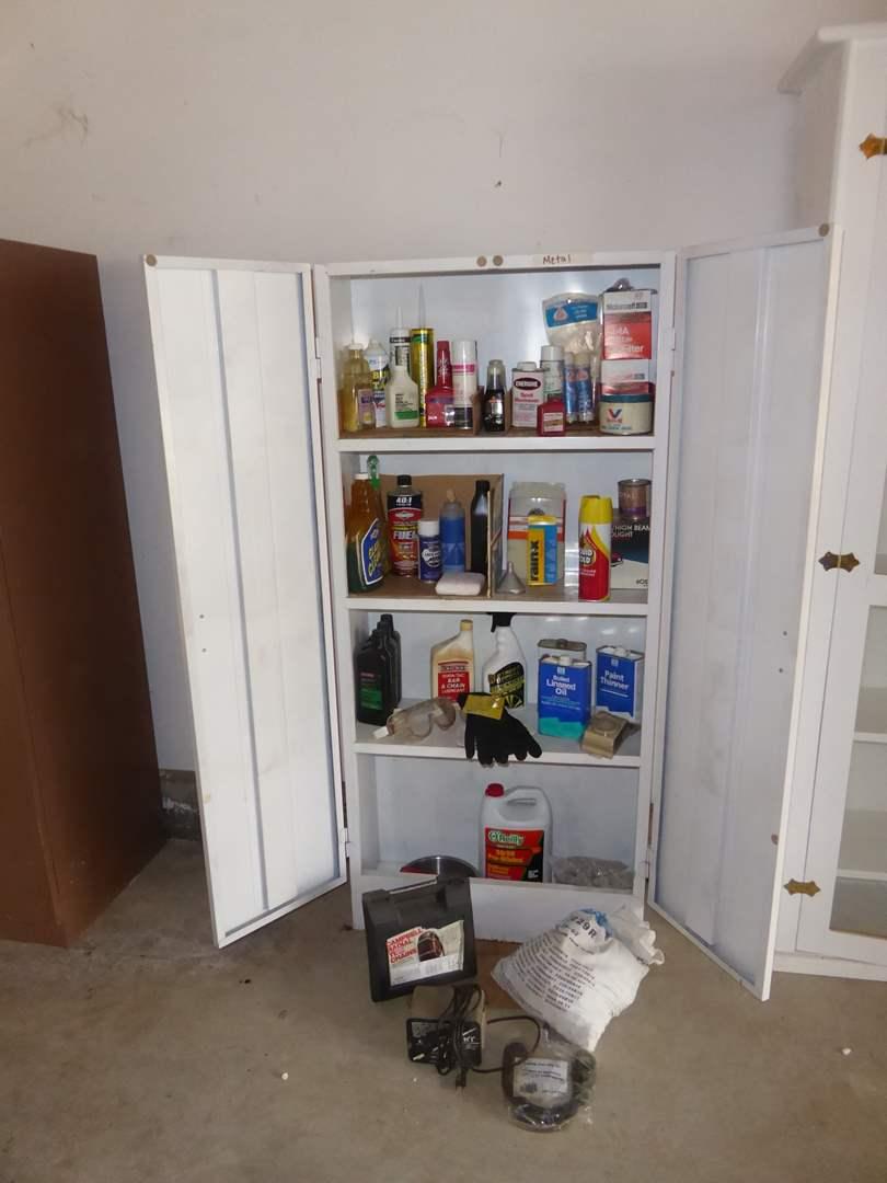 Lot # 357 - Metal Shop Cabinet + Contents  (main image)