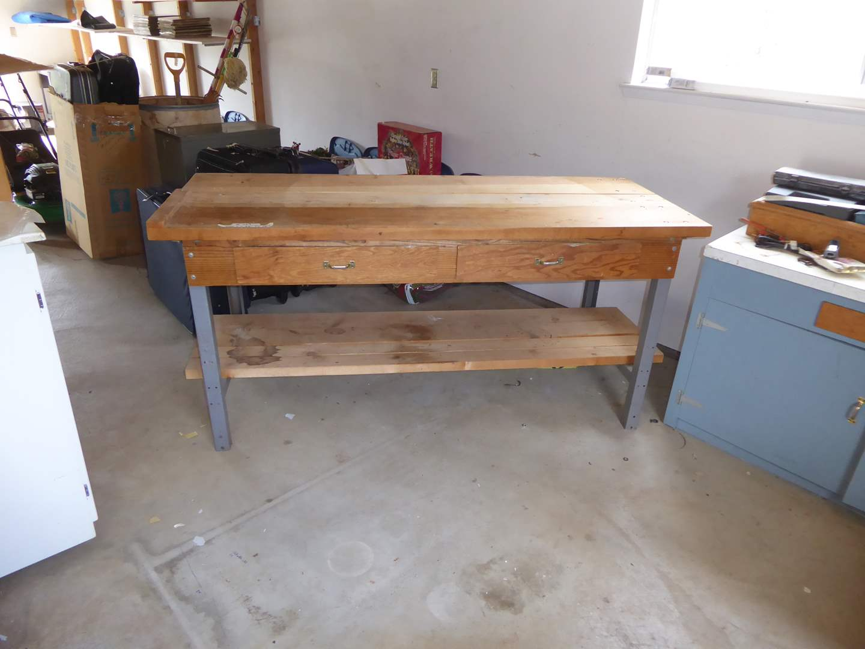 Lot # 369 - Wooden Work Bench W/Drawers & Metal Legs  (main image)