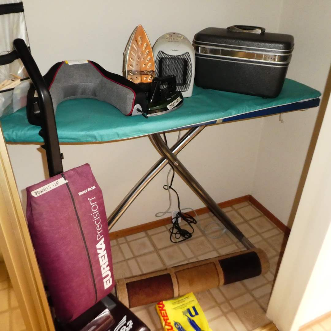 Lot # 201 - Vintage Ironing Board, Samsonite Toiletries Tote, Irons, Eureka Vacuum and More (main image)