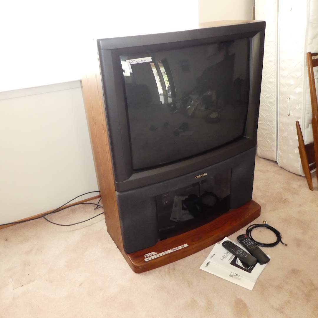 Lot # 215 -  Toshiba Television and VCR Both Power On (Very Heavy) (main image)