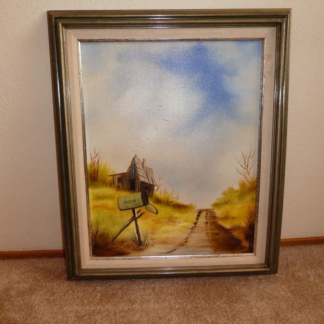"""Lot # 217 - Framed Original Oil On Canvas signed """"EM"""" (main image)"""
