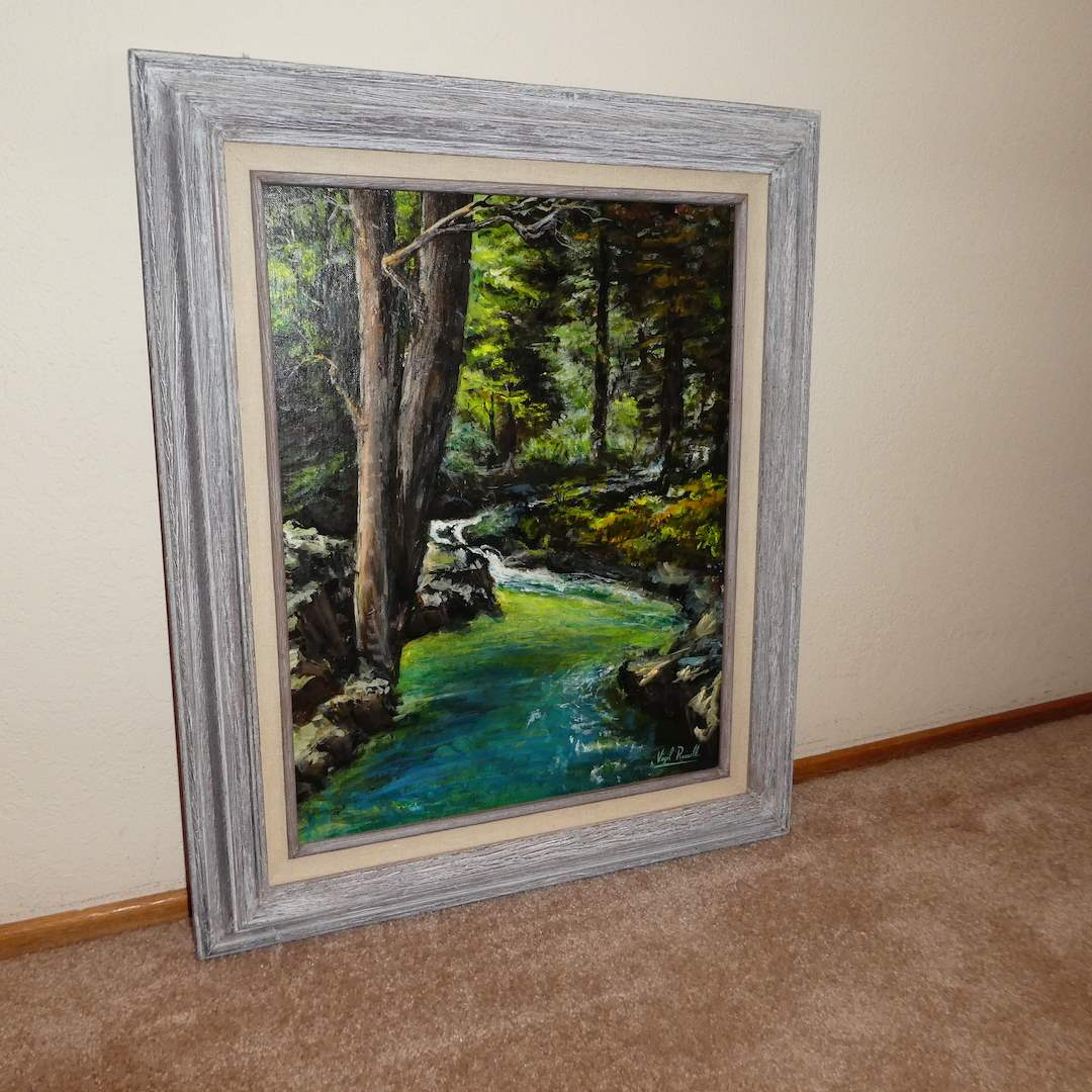"Lot # 218 - Original Oil On Canvas Signed ""Virgil Russell""  (main image)"