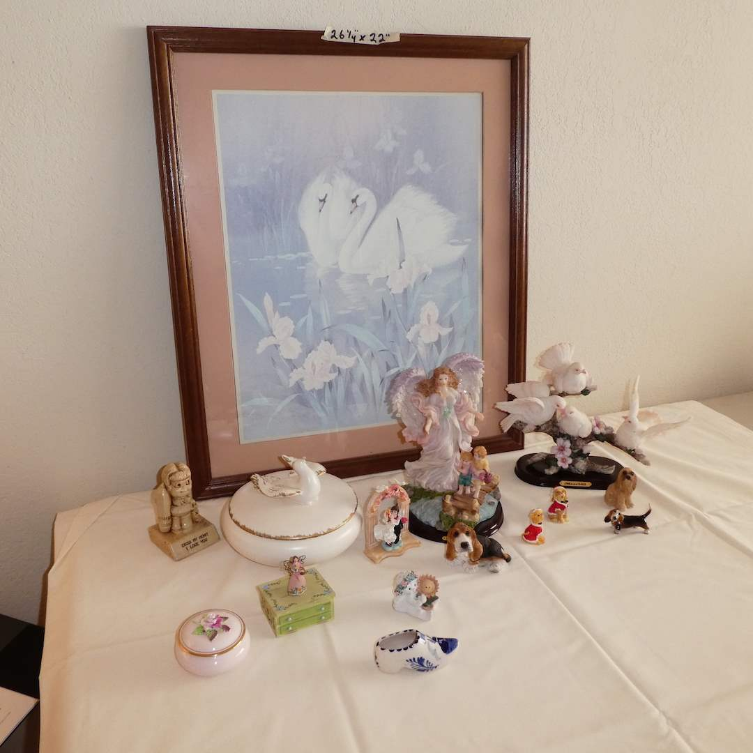 Lot # 220 -  Cute Framed Print and Misc Figurines  (main image)