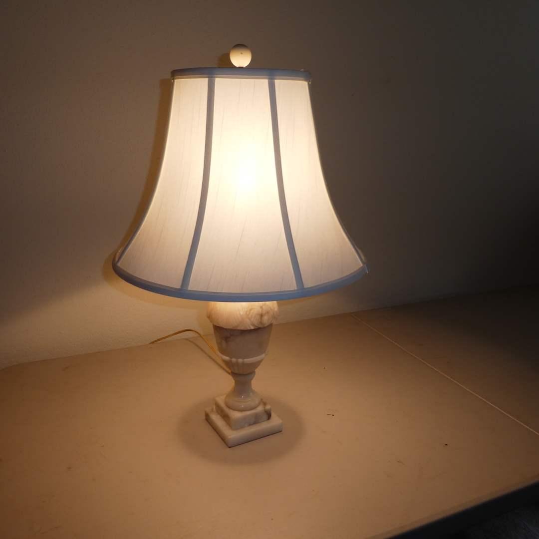 Lot # 222 - Vintage Alabaster Marble Table Lamp (main image)