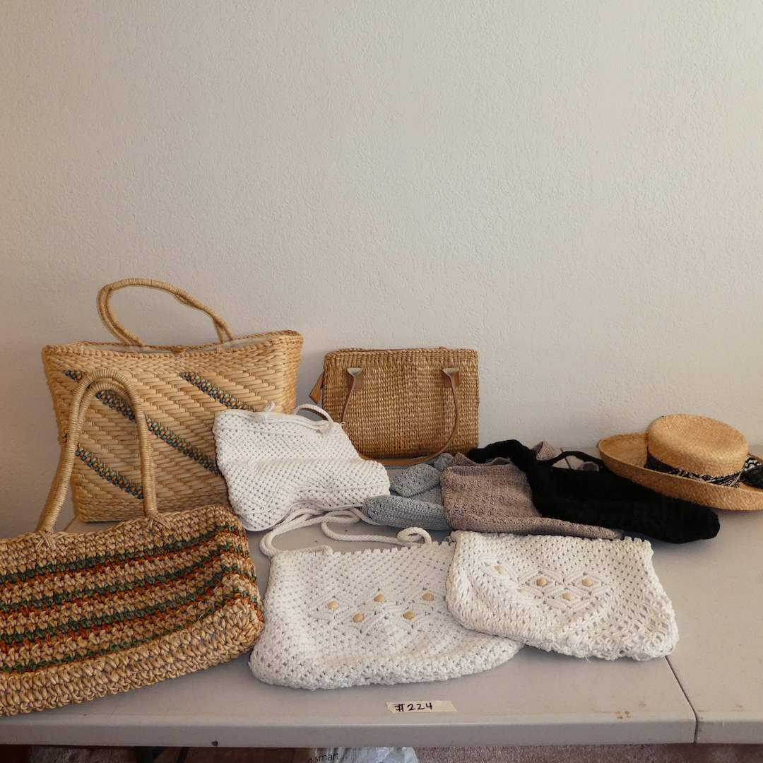 Lot # 224 - Boho Crochet Purses, Seagrass Totes and Sun Hat (main image)
