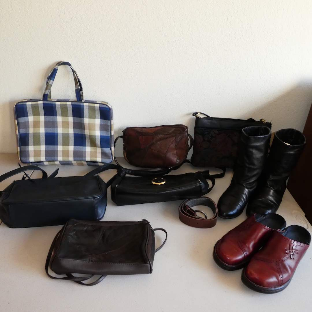 """Lot # 227 - Lot of Quality Purses, """"Dexters"""" Leather Boots and Slip on """"Clarks"""" (Both Womens Size 8) (main image)"""