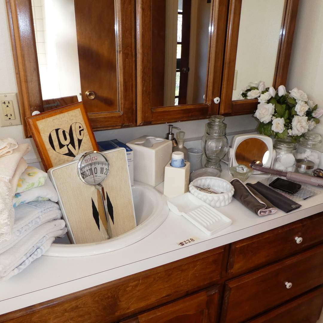 Lot # 228 - Misc Bathroom Lot (Vintage Detecto Scale, Glass Canisters, Soap Dispensers and more)  (main image)
