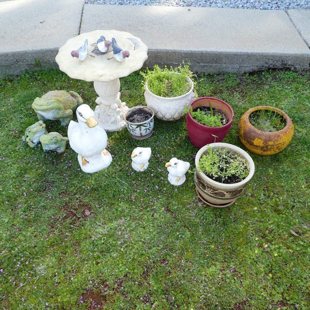 Lot # 232 - Concrete Garden Art and Pots (main image)