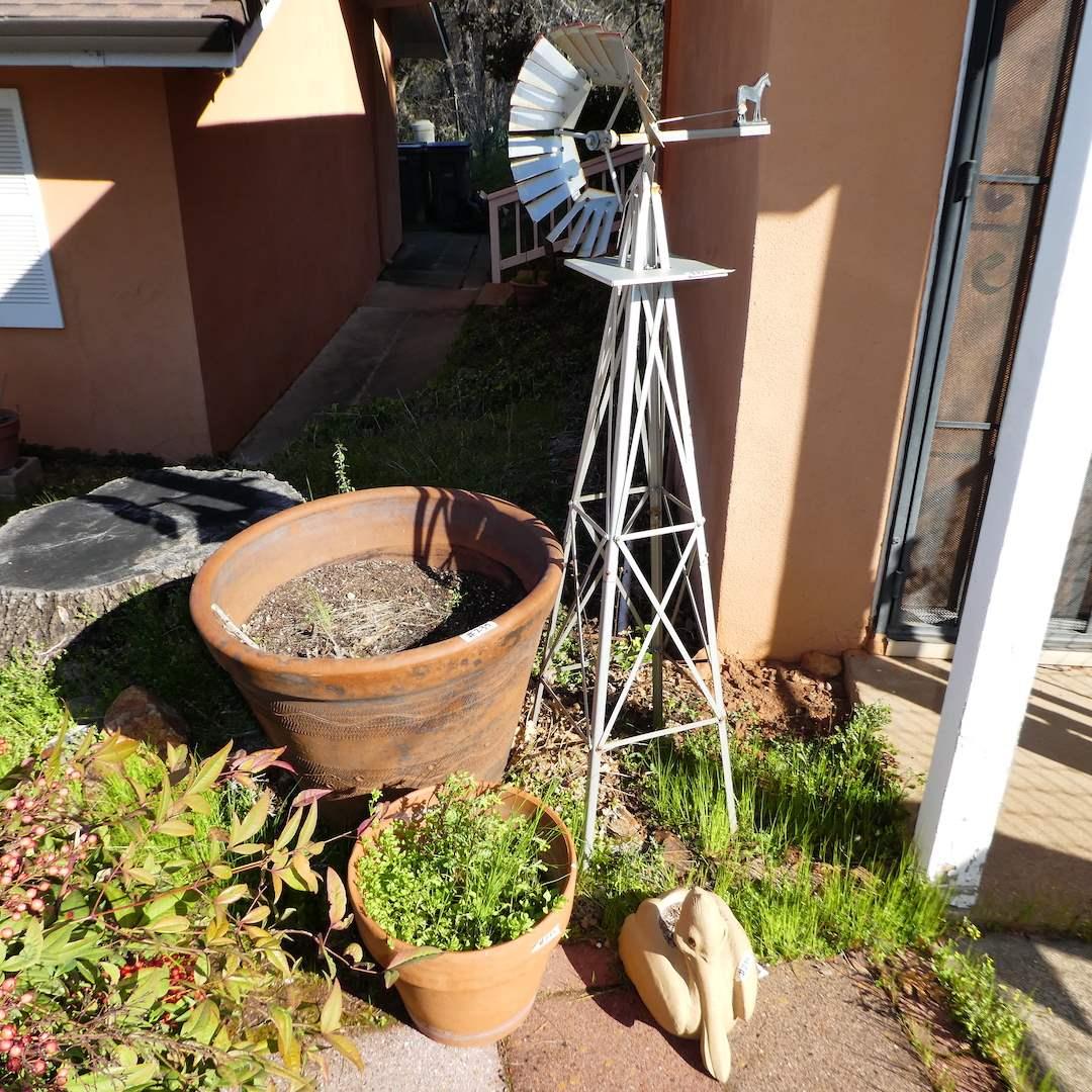 "Lot # 235 - Large Terra Cotta Pots, 53"" Tal Ornamental Windmill and More  (main image)"