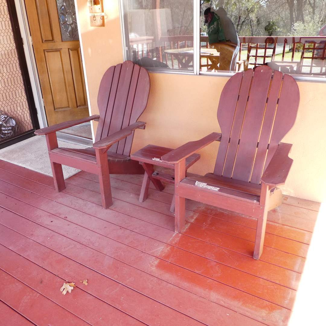 Lot # 237 - Two Wooden Adirondack Chairs with Side Table (main image)