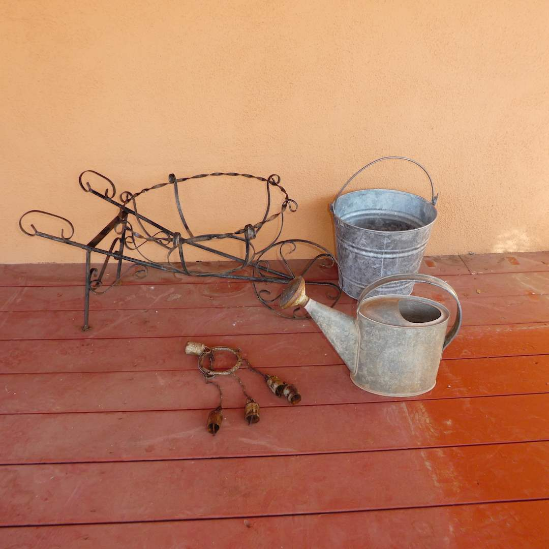Lot # 238 - Galvanized Metal Watering Can w/ Brass Spout, Galvanized Bucket and Wrought Iron Planter Holding Yard Art (main image)