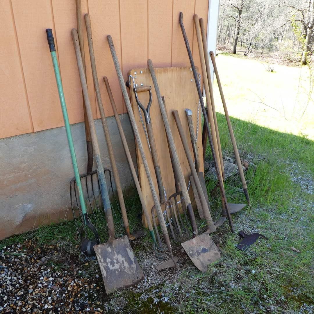 Lot # 244 - Large Yard Tool Lot (Rakes, Shovels, Hoes and More) (See all Photos) (main image)