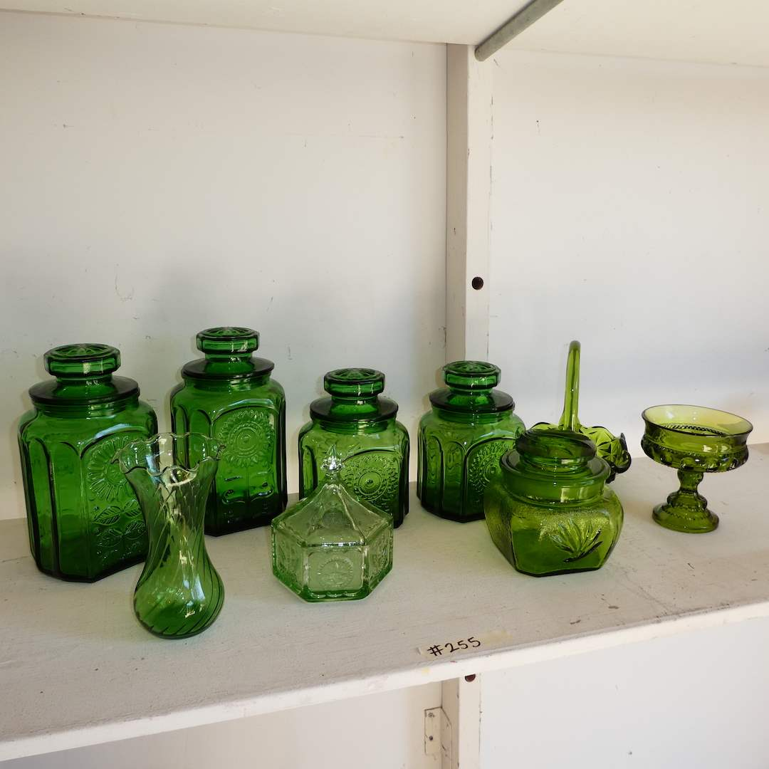 Lot # 255 - Vintage Green Glass Lot (Canisters, Vase and Basket Candy Dish) (main image)