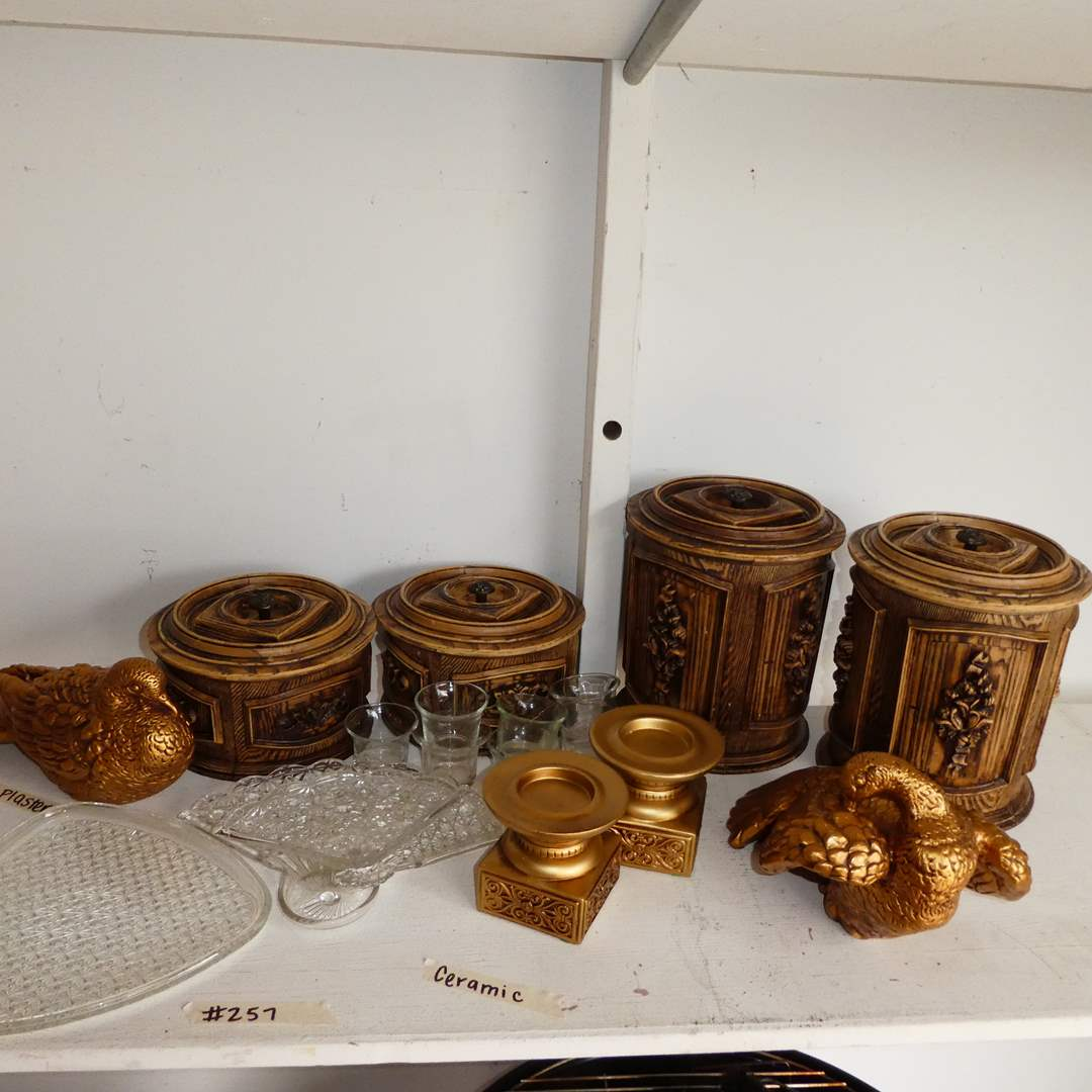 Lot # 257 - Four Vintage Faux Wood Canisters, Ceramic Candle Stands, Heavy Plaster Turkeys and More (main image)
