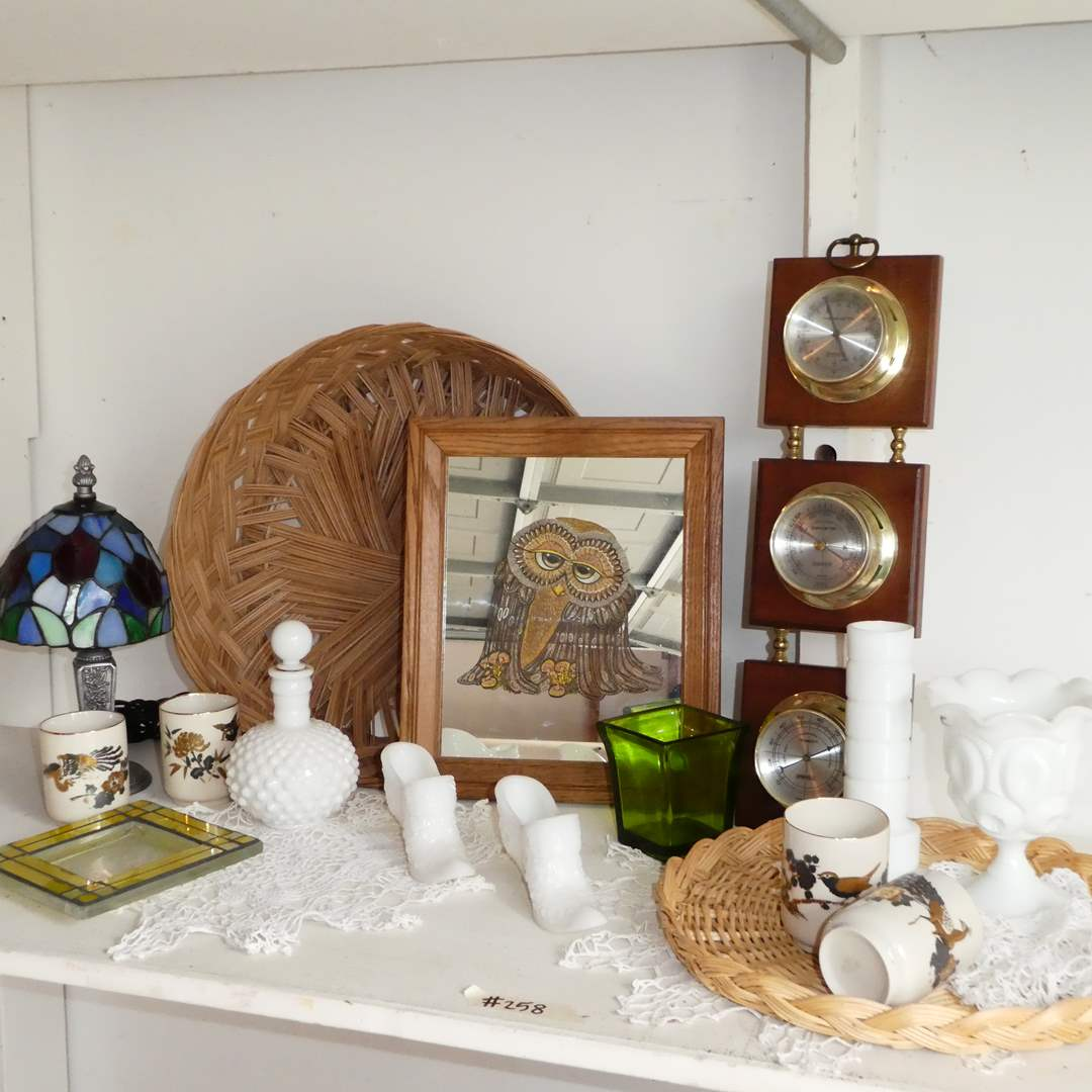 Lot # 258 - Adorable Vintage Lot (Framed Mirror w/ Owl art, Milk Glass Shoe Figurines, Stained Glass Lamp And more  (main image)
