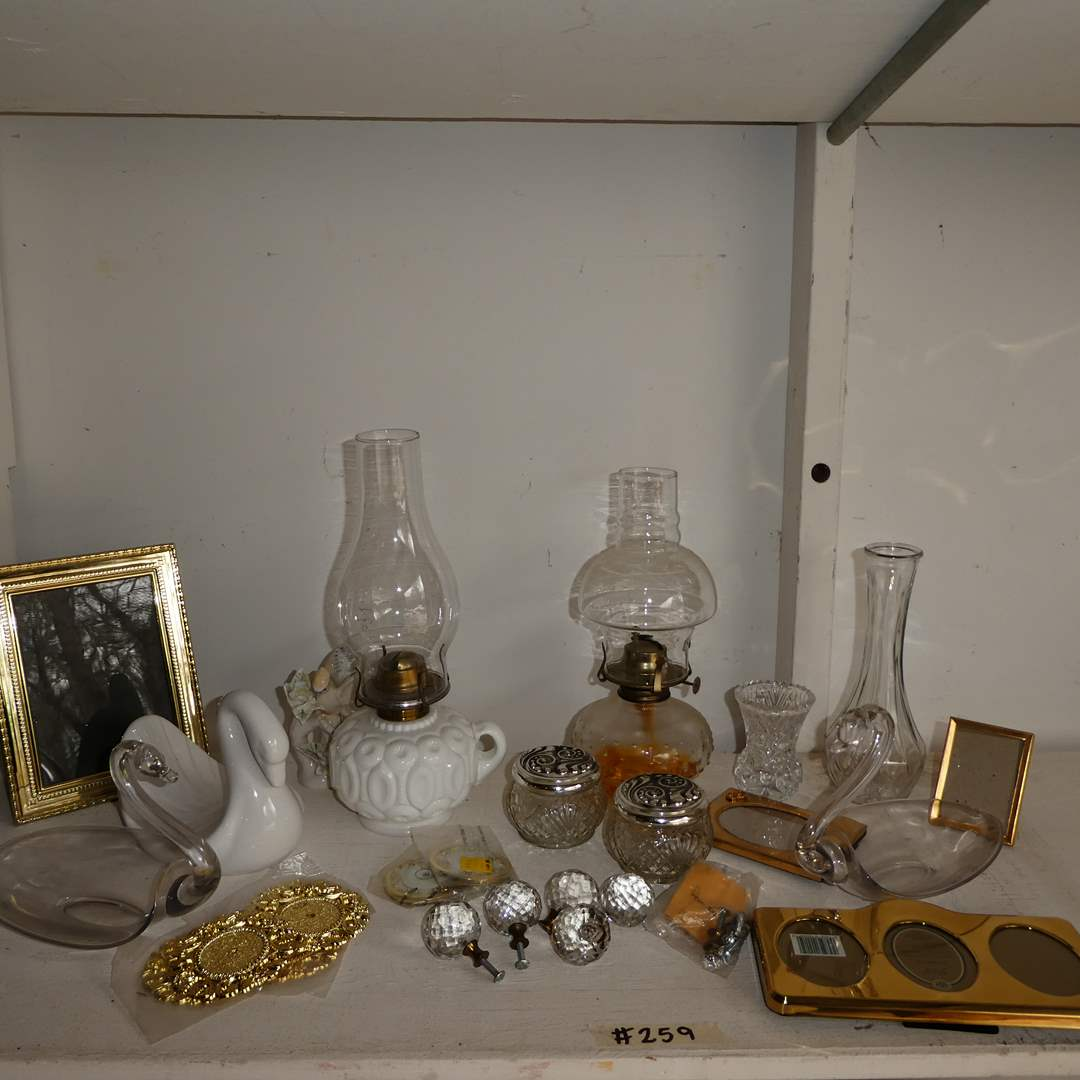 Lot # 259 - Vintage Glass Oil Lamps, Vases, frames and More (main image)