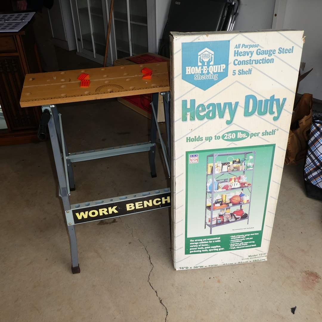 Lot # 264 - Heavy Duty Hom-E-Quip Shelving in Box and Foldable Work Bench (main image)
