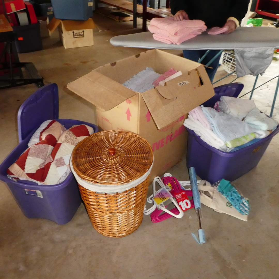 Lot # 265 - Vintage Folding Ironing Board, Wicker Hamper and Boxes full of Misc Blanket, Sheets, Cloths and More (main image)
