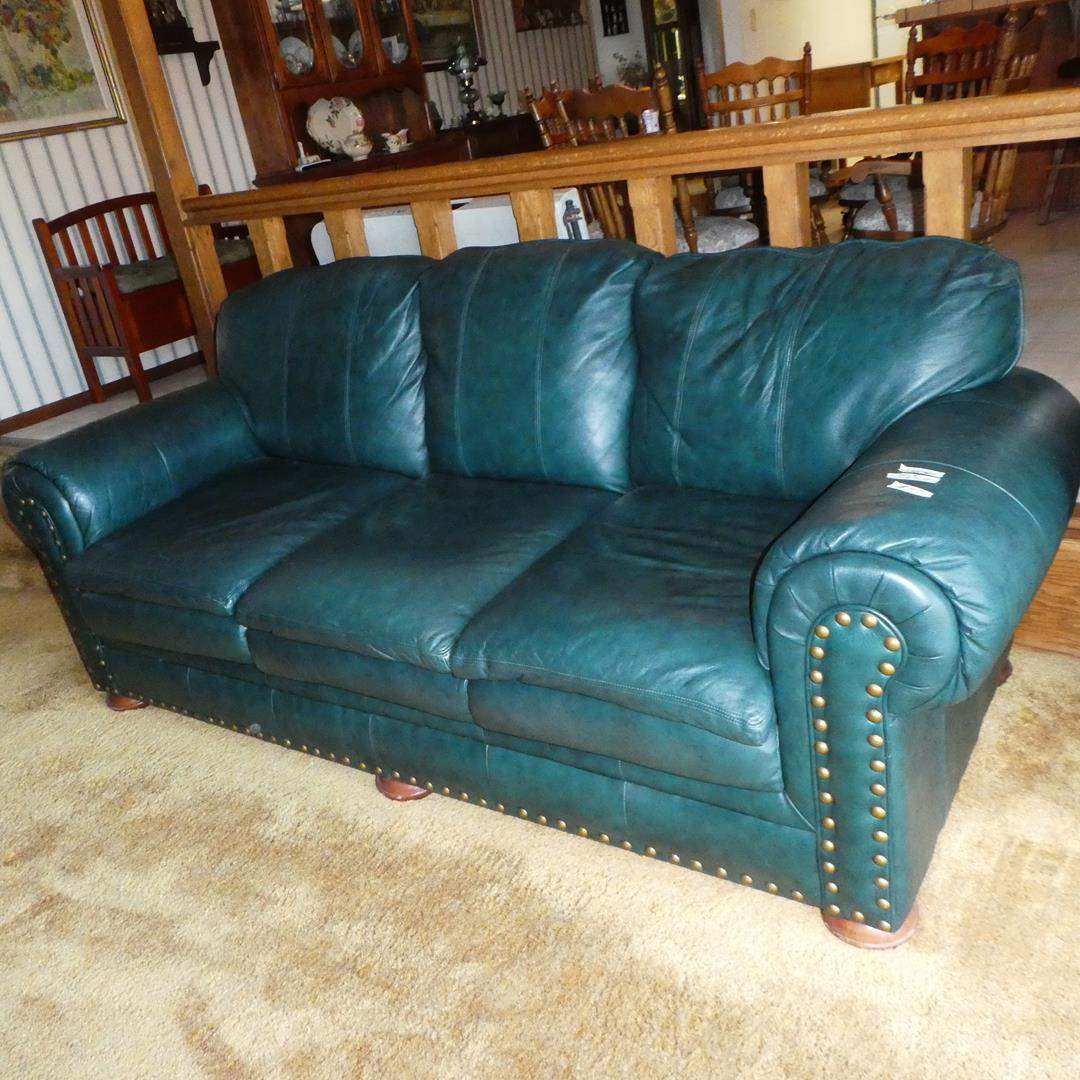 Lot # 100 - Green 'BenchCraft' Leather Sofa w/Nailhead Accents (main image)