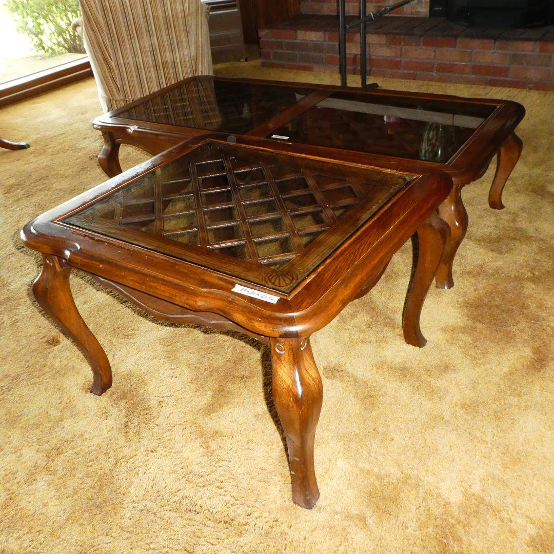 Lot # 102 - Wood Framed Glass Top End Table & Matching Coffee Table (main image)