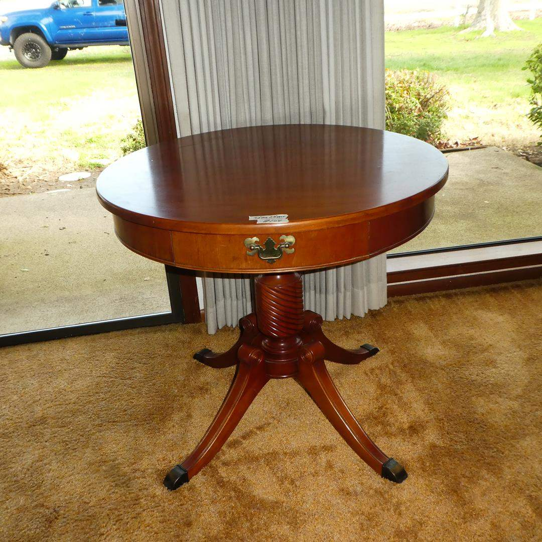 Lot # 104 - Vintage Wooden Drum Table w/Dovetailed Drawer (main image)