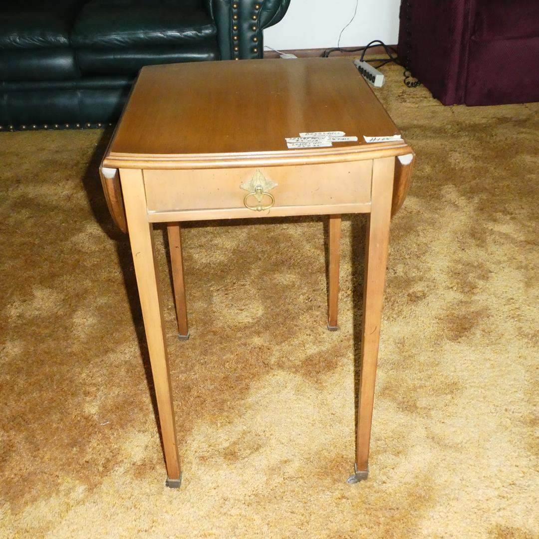Lot # 105 - Vintage Wooden Drop Leaf Accent Table w/Drawer on Casters (main image)