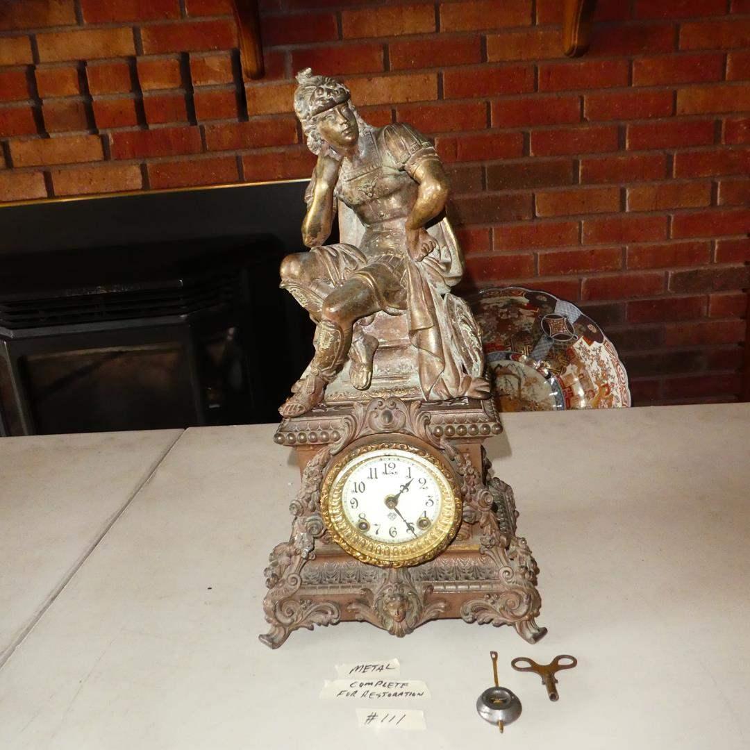 Lot # 111 - Antique 'Ansonia' Figural Mantel Clock For Restoration (Will Run) (main image)