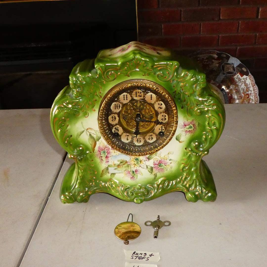 Lot # 112 - Antique Porcelain 'Gilbert' No. 411 Mantel Clock w/Key (main image)