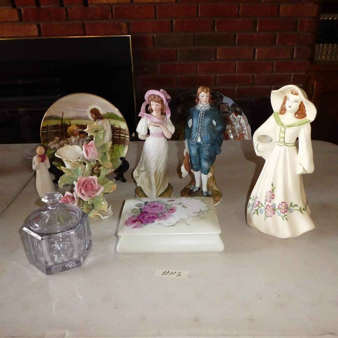 Lot # 113 - Vintage Purple Candy Dish, Germany Floral Figurine, Floral Cigarette Box & Figurines (main image)