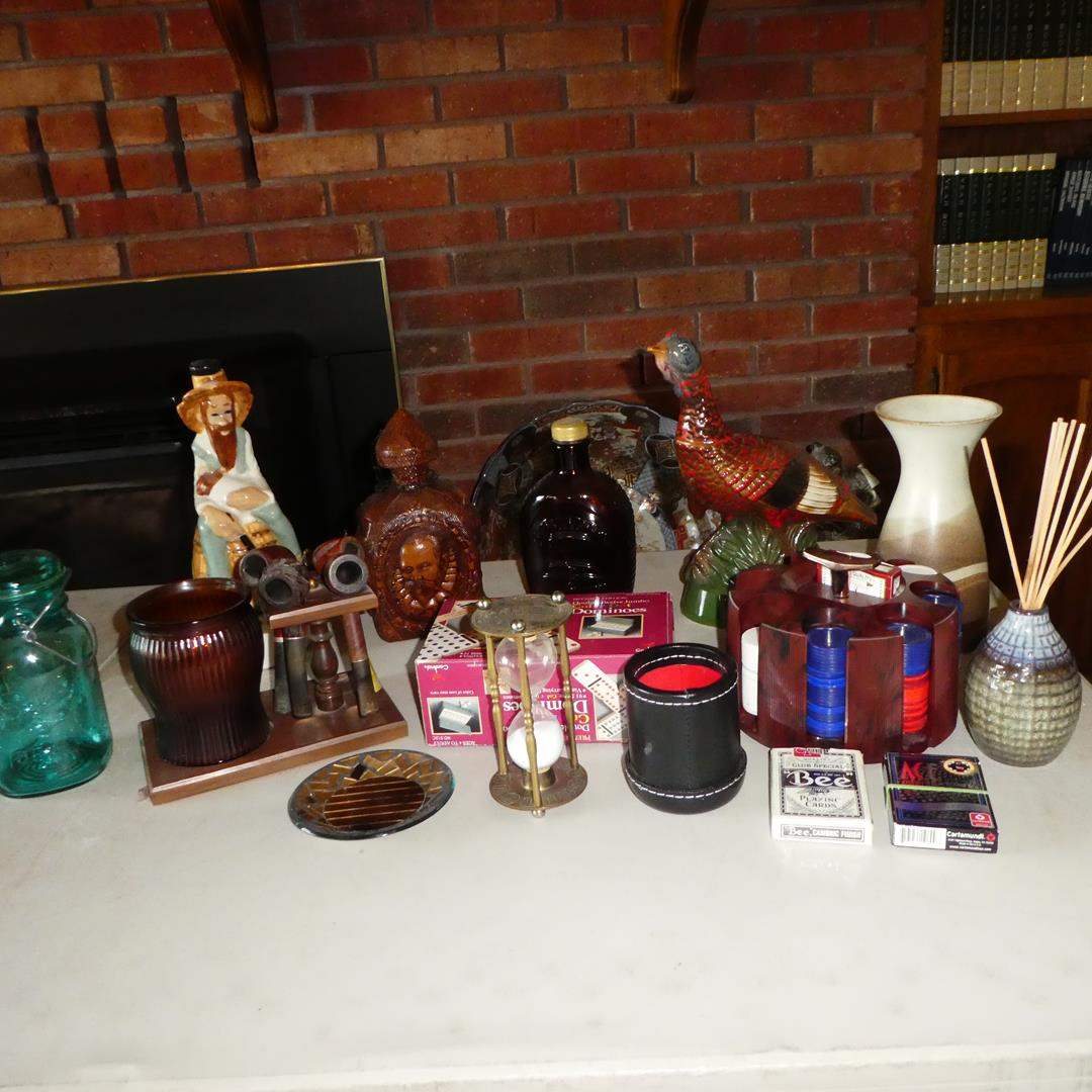 Lot # 116 - Vintage Ball Canning Jar, Tobacco Pipes Collection, Empty Decanters, Dice, Cards & Poker Chips (main image)