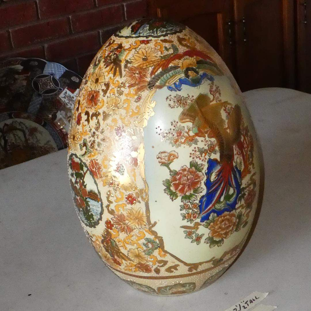 Lot # 117 - Large Vintage Hand Painted Gold Gilt 'Satsuma' Egg (main image)