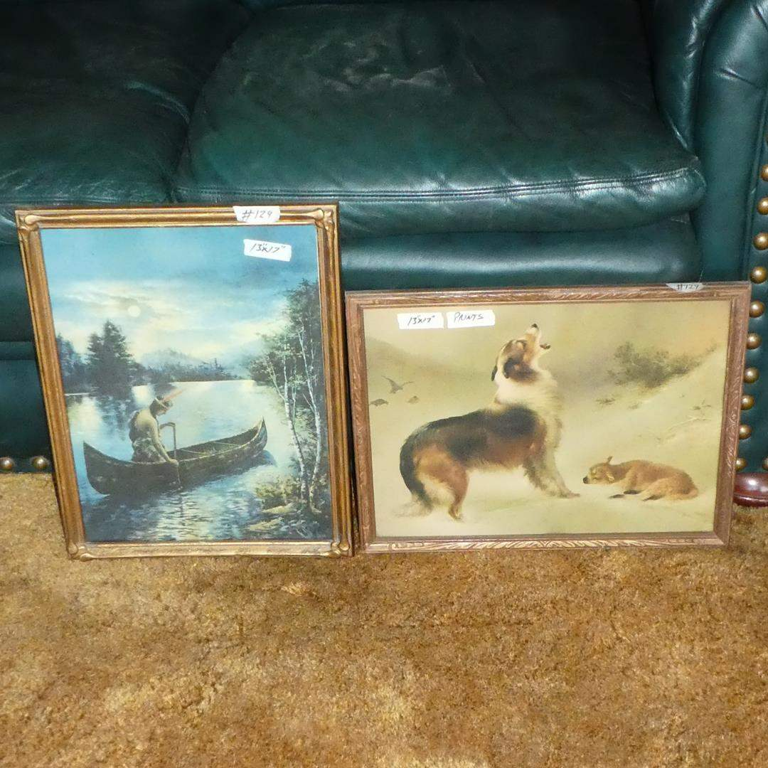 Lot # 124 - Two Framed Vintage Prints Indian Maiden in Canoe & Collie Sheep Dog w/Lamb in Snow (main image)