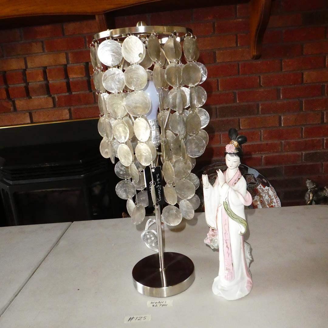 Lot # 125 - Capiz Shell Table Lamp & Porcelain Geisha Lady Figurine (main image)