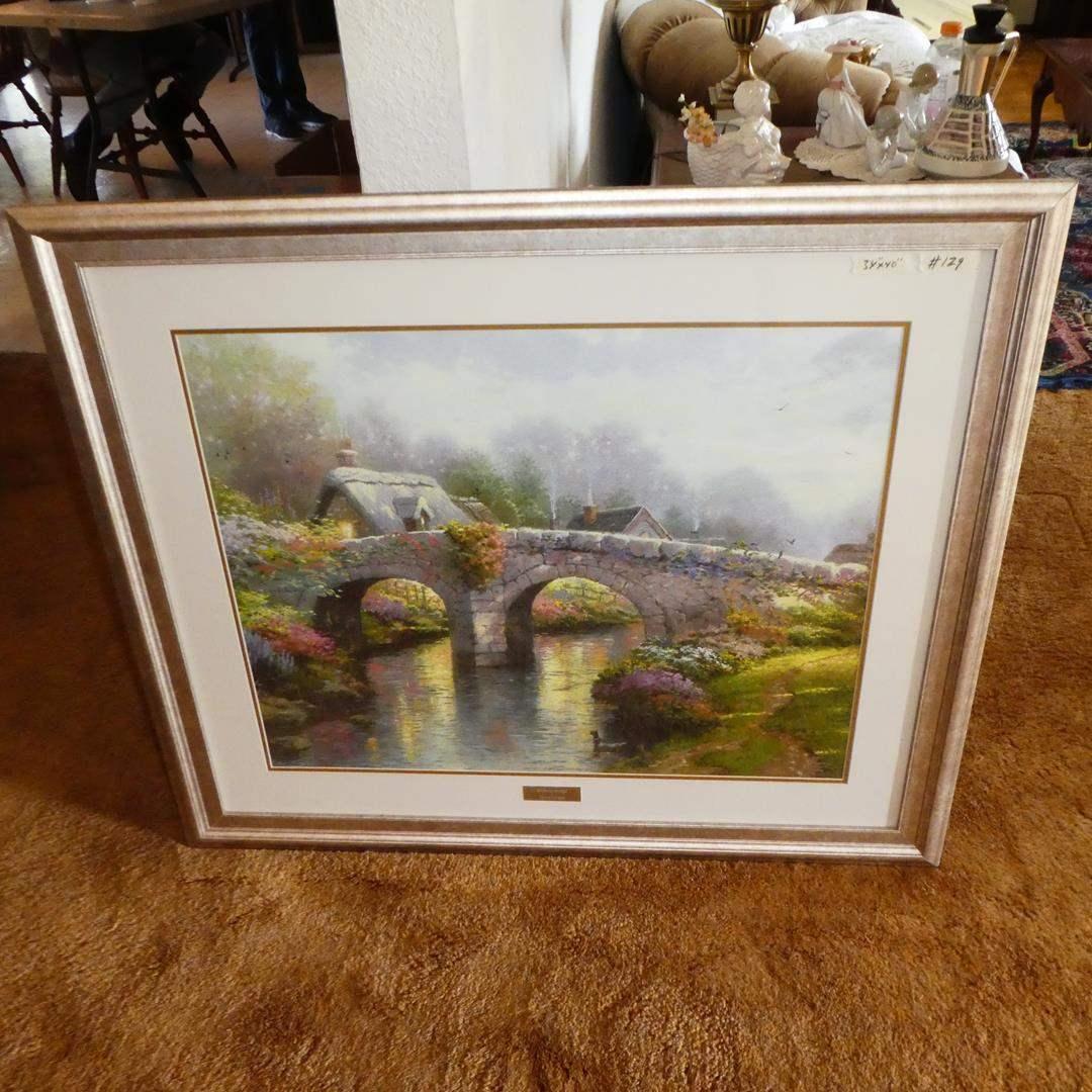 "Lot # 129 - Large Framed Lithograph ""Blossom Bridge"" by Thomas Kinkade (main image)"