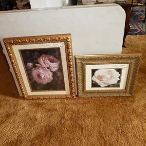 Auction Thumbnail for: Lot # 130 - Beautifully Framed Floral Print & Photo