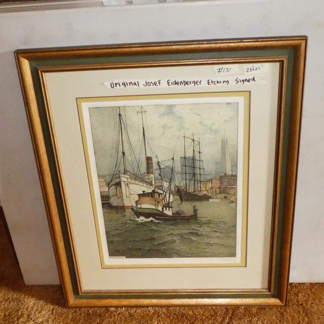 """Lot # 131 - Large Framed Signed Original Josef Eidenberger Etching """"San Francisco"""" (main image)"""