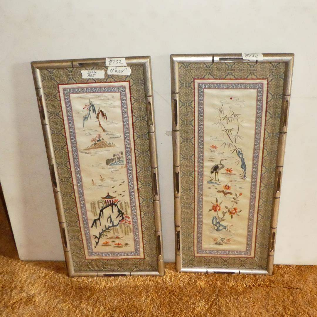 Lot # 132 - Two Framed Vintage Oriental Silk Art Embroidery Pictures (main image)