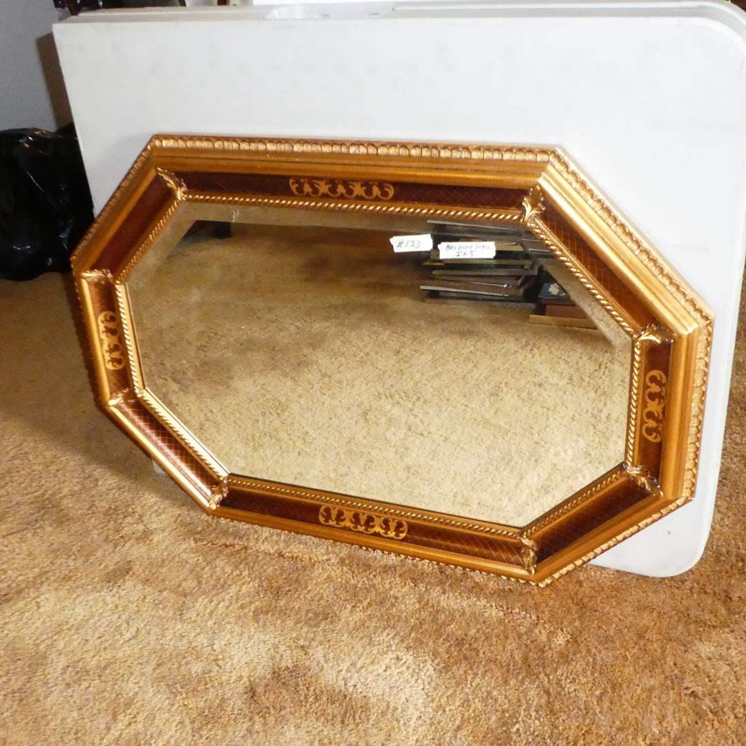 Lot # 133 - Octagon Shaped Beveled Glass Wall Mirror (main image)