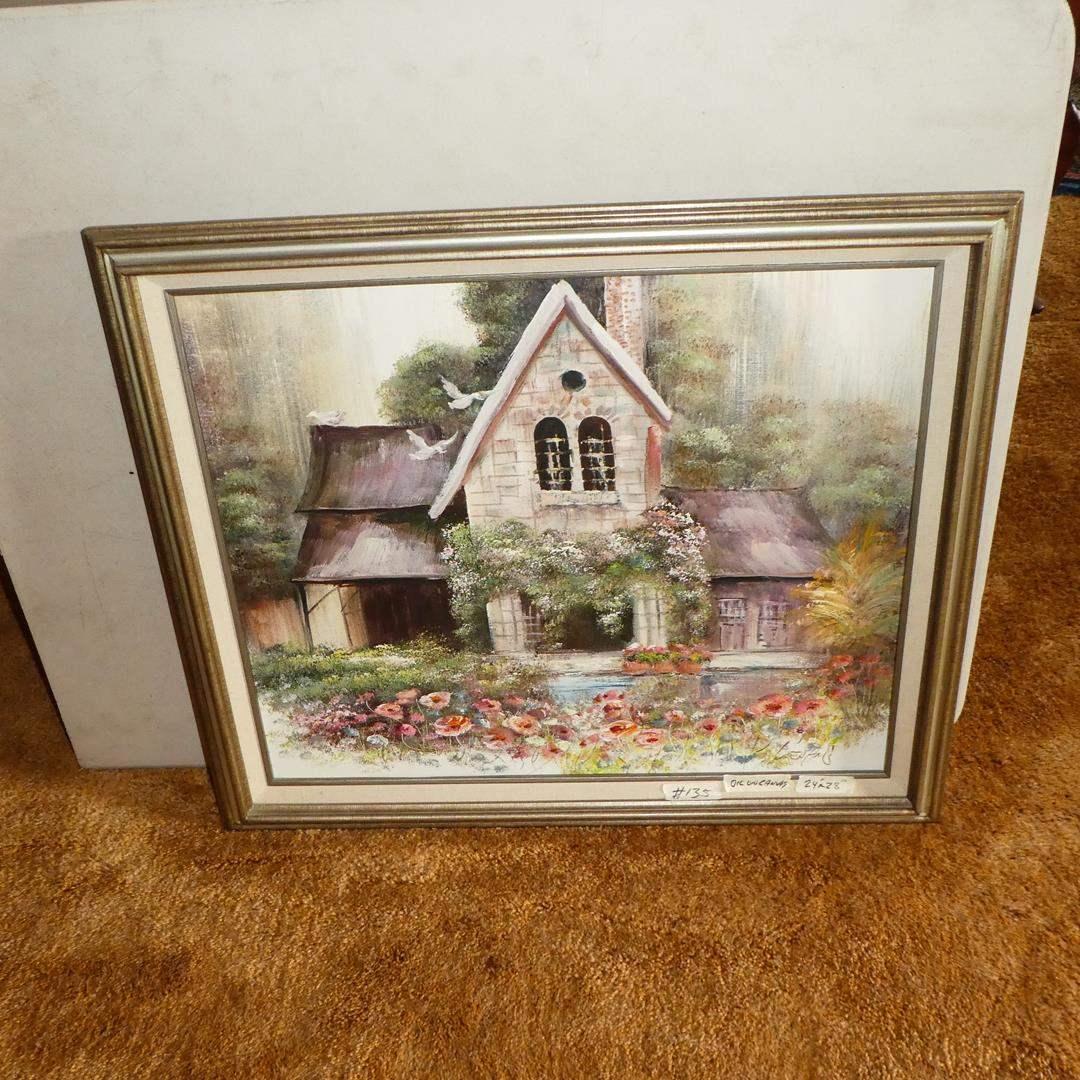 Lot # 135 - Framed Signed Vintage Oil on Canvas Cottage Scene (main image)