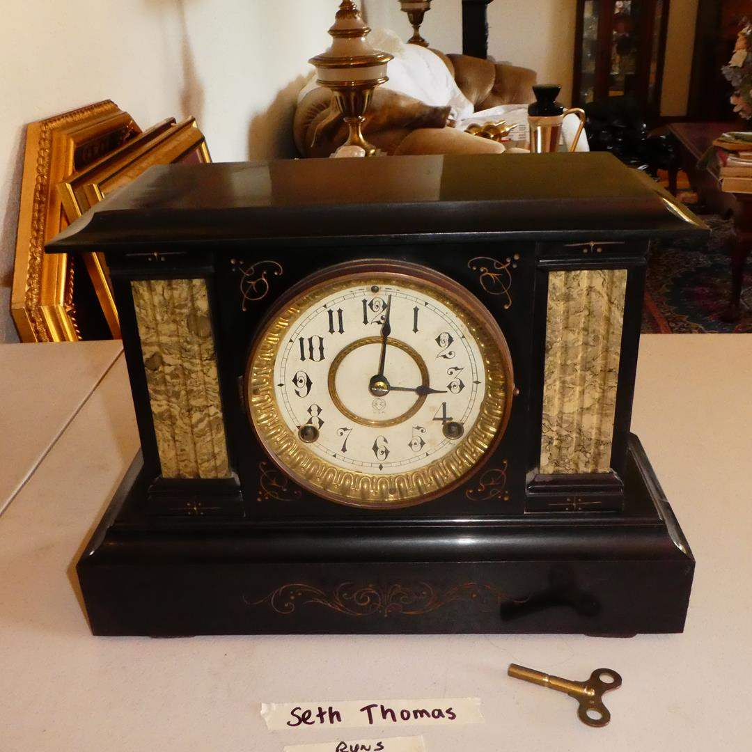 Lot # 139 - Antique Metal Case 'Seth Thomas' Mantel Clock w/ Key - Runs (Outstanding Antique Condition) (main image)