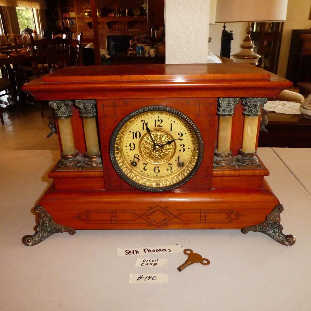 Lot # 140 - Antique Wooden Case 'Seth Thomas' Mantel Clock w/Key - Runs (main image)