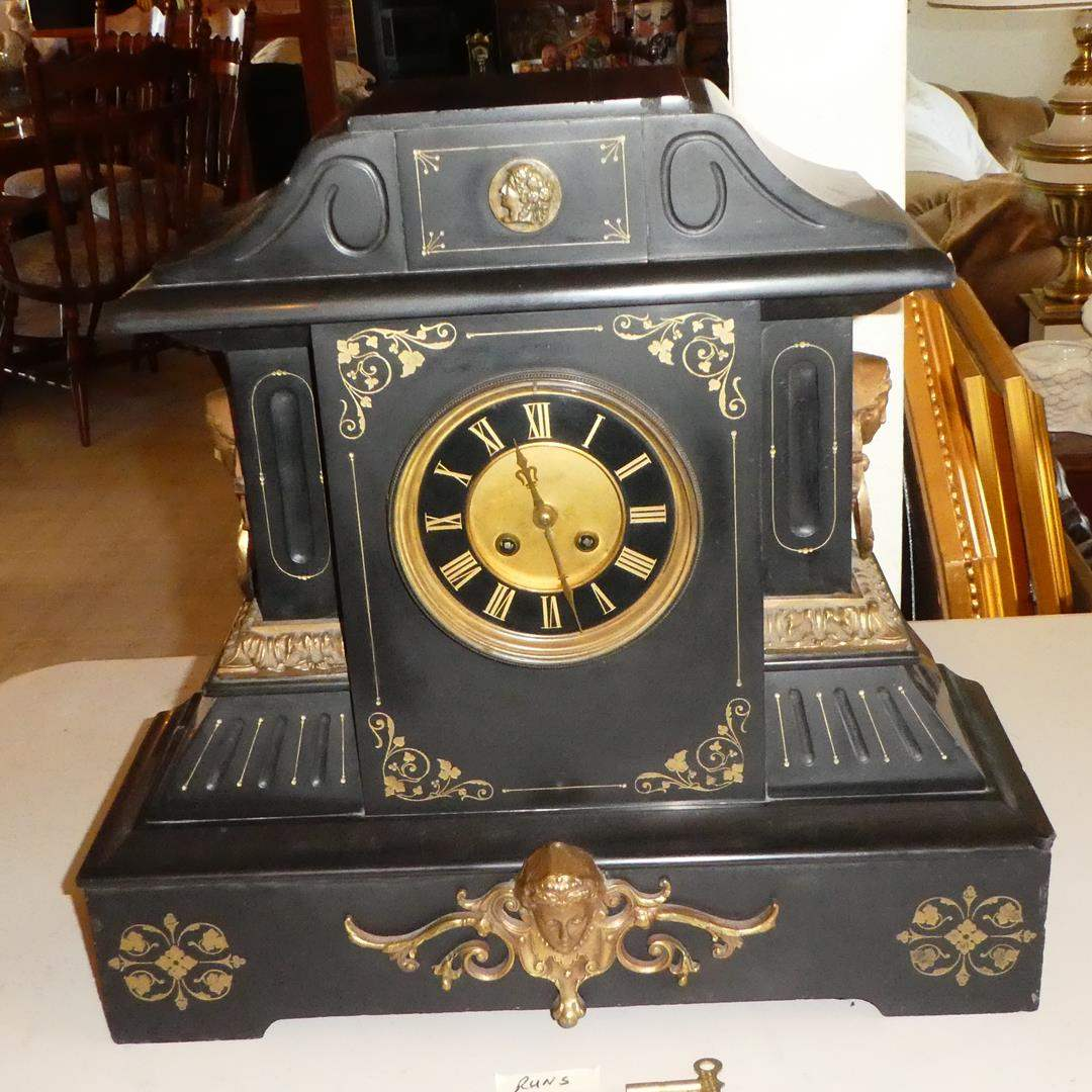 Lot # 142 - Antique 'A. D. Mougin' French Mantel Clock Slate Case w/ Key - Runs (Rare, Large and Heavy) (main image)