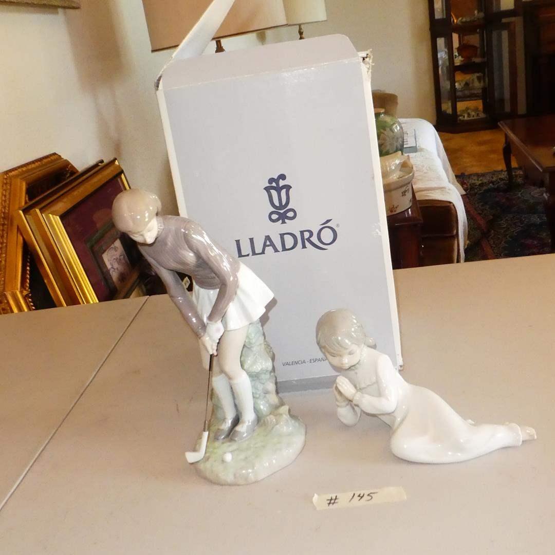 Lot # 145 - 'Lladro' Golf Player Woman Figurine in Original Box & 'Zaphir' Little Girl Figurine (main image)