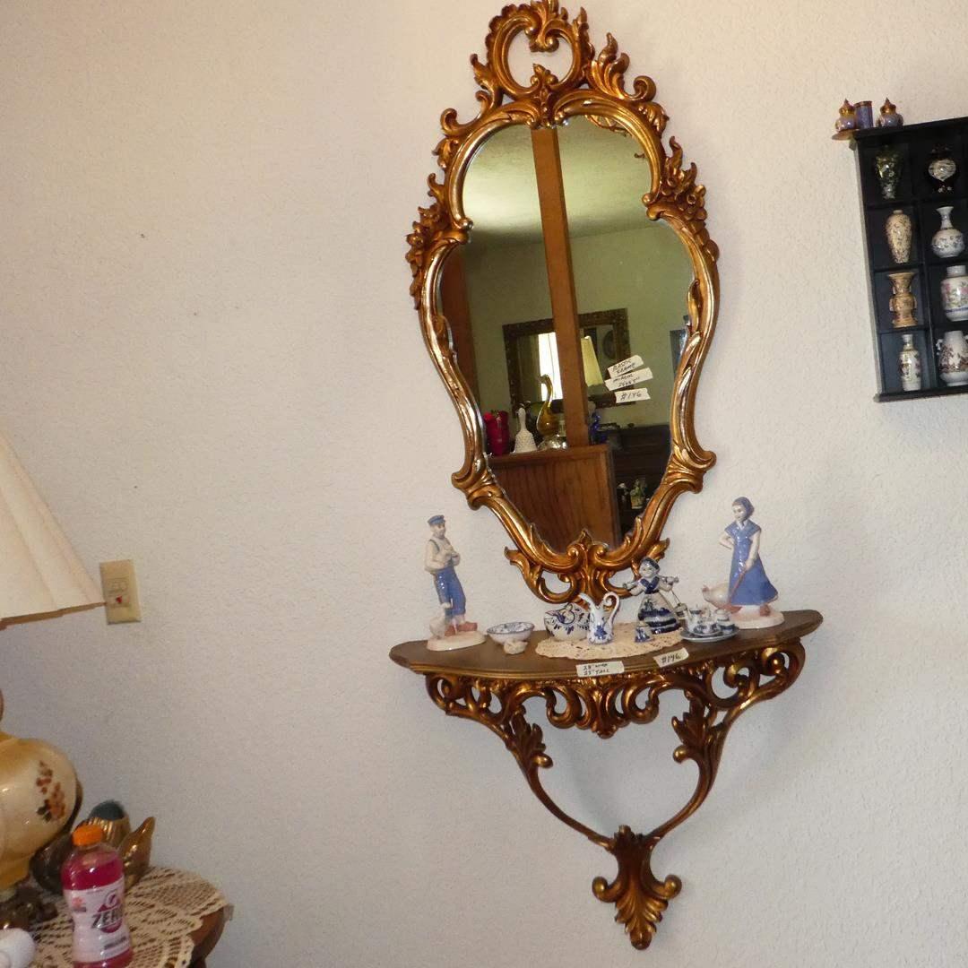 Lot # 146 - Ornate Vintage Wall Mirror, Matching Wall Shelf, Figurines, Miniature Tea Set & More (main image)