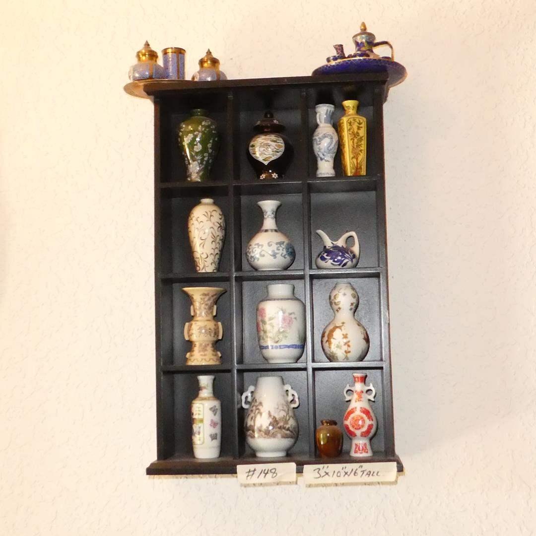 Lot # 148 - Miniature Wall Shelf & Miniature Japan Vases (main image)